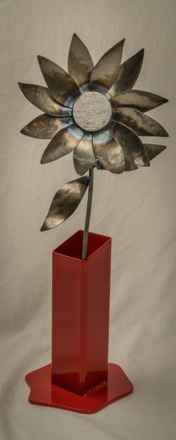 #123 Steel Flower with Vase