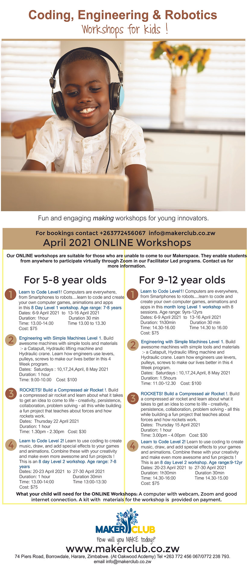 Maker Club April 2021 kids ONLINE calend