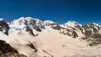 Bergpanorama mit Piz Palü und Piz Bernina von der Diavolezza aus