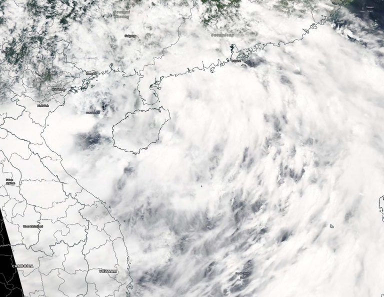 NASA's Aqua satellite captured a visible image of Tropical Storm Sinlaku Aug. 1. Sinlaku has formed near Hainan Island and appears to have a large circulation. Image Courtesy: NASA Worldview, Earth Observing System Data and Information System (EOSDIS).