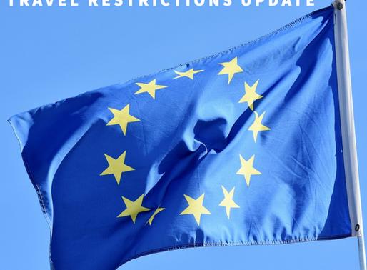 EUROPEAN UNION TRAVEL RESTRICTIONs UPDATE