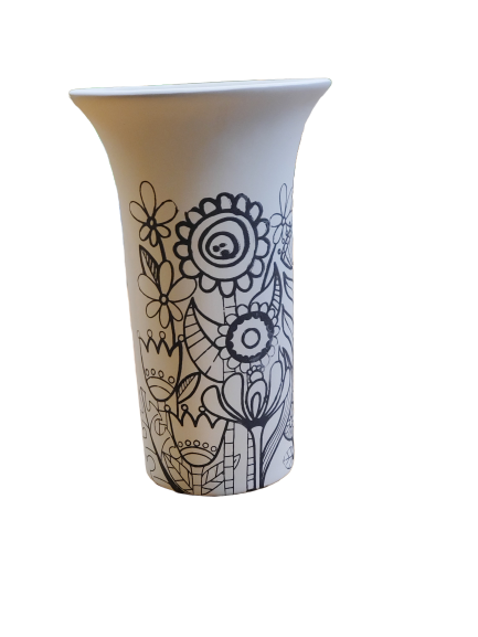 Trumpet Vase with Flower Screenprint