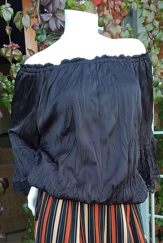 FABULOUS D OPEN SHOULDER BLACK SATIN TOP