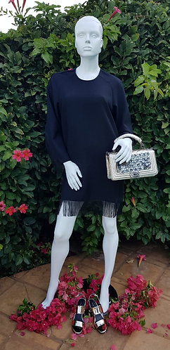 POSH BELLA TUNIC DRESS BLACK FRINGE TRIM EUROPEAN SIZING