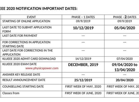 KLUEEE 2020 notification important dates