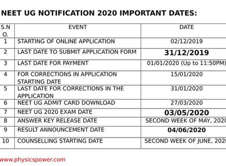 NEET UG 2020 IMPORTANT DATES