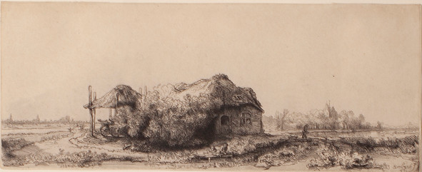 Landscape with Cottages and a Hay Barn: Oblong.