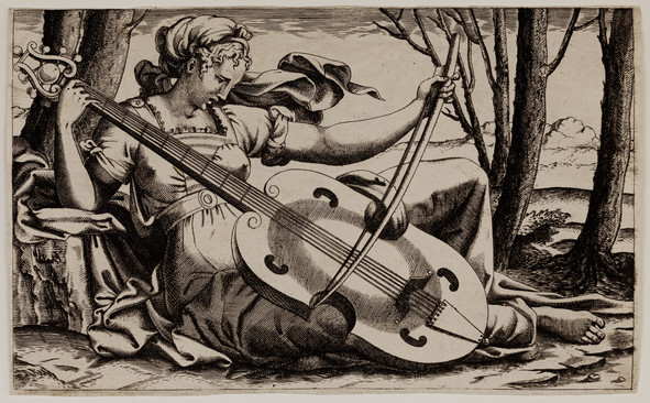 A Muse playing a Viola.