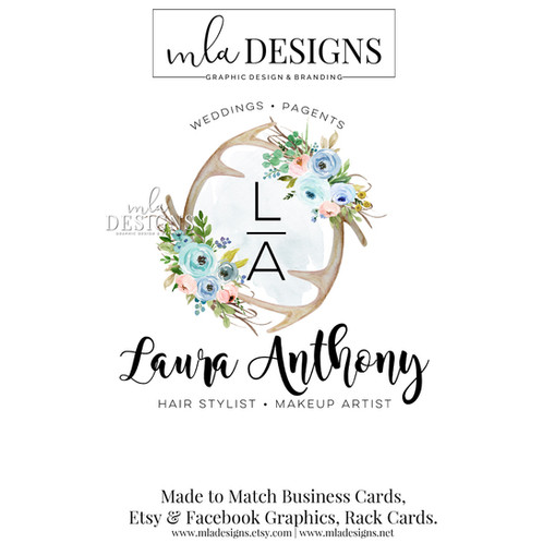 Anterl floral logo mla designs custom logos graphic design affordable and beautiful my custom premade logos are the perfect way to begin branding your business reheart Images