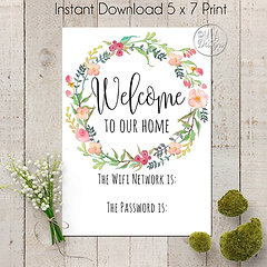 image relating to Wifi Password Printable called Wifi Pword Printable Artwork 5 x7 - Welcome in direction of Our Residence - Wreath  graphicdesigns