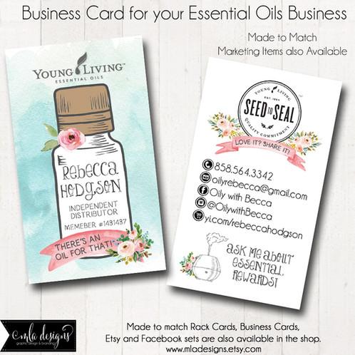 Essential Oils 2 Sided Business Card MLA Designs Custom Logos