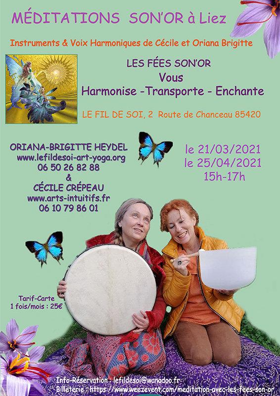 Méditation sonore à Liez en Vendée en mars, avril et mai 2021
