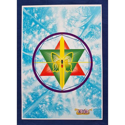 "Mandala ""Plénitude Androgyne"" (fond bleu) - format poster"