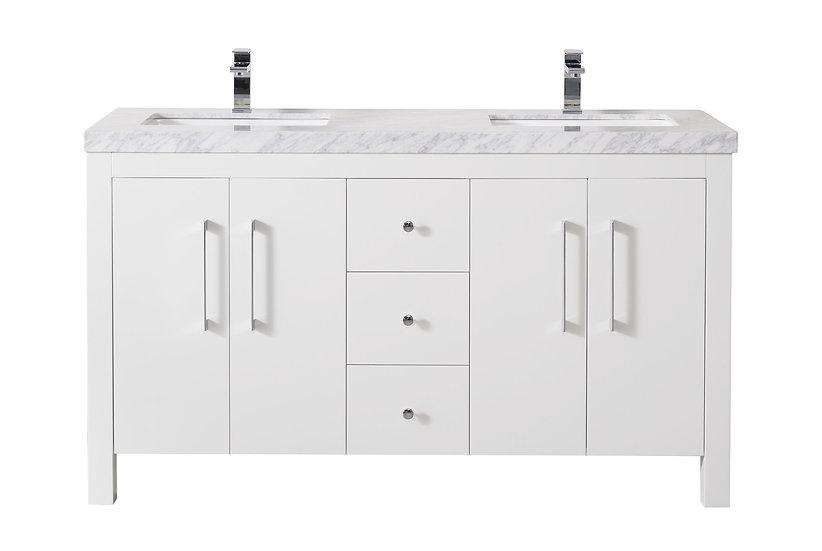 """Adler 60"""" White Double Sink Vanity"""