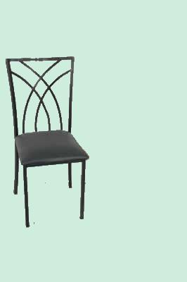 Cadeira Ferro preta / Assento Estofado