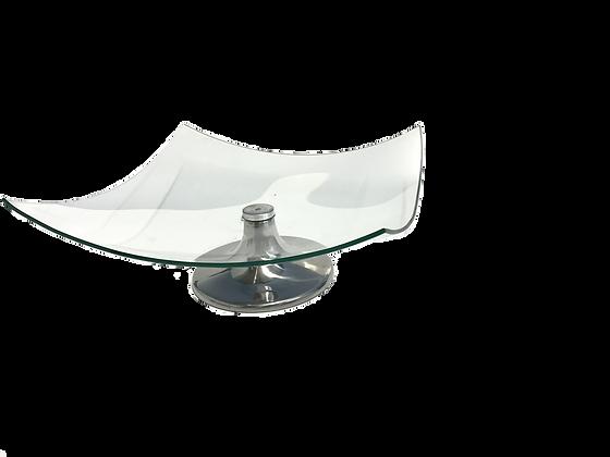 Placa Vidro Quadrada Concava C/ Pe Inox