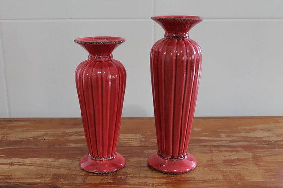 Castiçal Ceramica Vermelho
