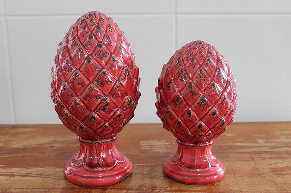 Pinha Ceramica Vermelho