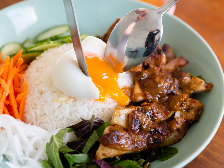 Chargrilled satay chicken rice