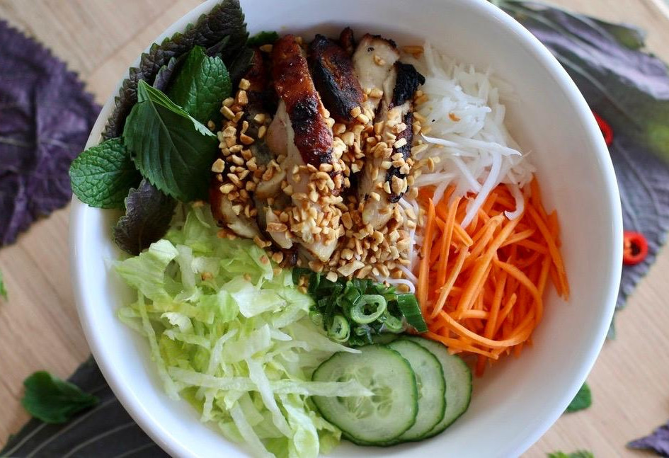 Chargrilled satay chicken noodle salad