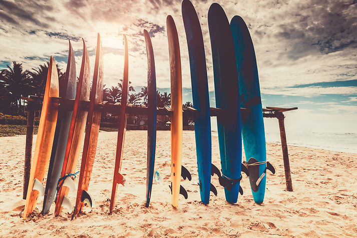 Surfboards, many different surf boards o
