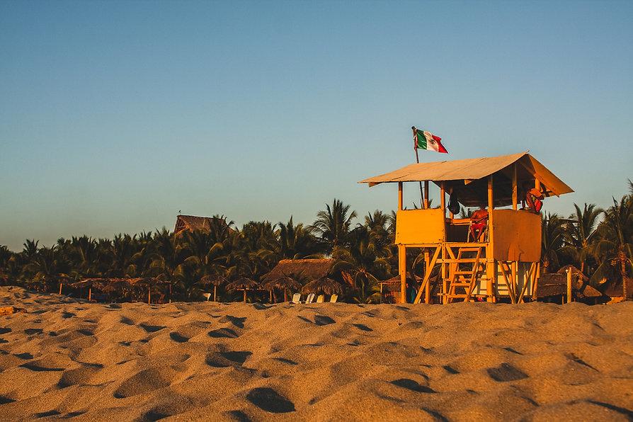 Typical beach in Puerto Escondido, Mexic