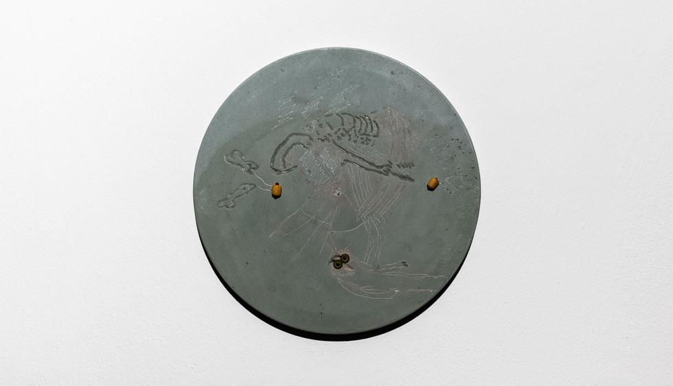 Miriam Naeh, Hidden Sausages, 2018, Engraving Jesmonite, Faux Eyes, Miniature 'Pigs in a Blanket', Dimensions Variable