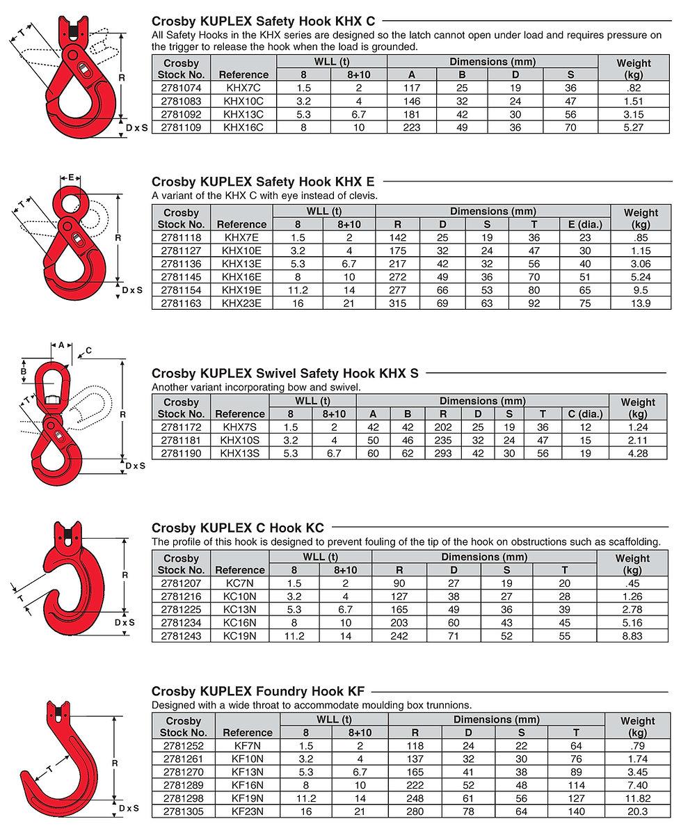 Safety Hook KHX C  KUPLEX Safety Hook KHX E KUPLEX Swivel Safety Hook KHX S KUPLEX C Hook KC KUPLEX Foundry Hook KF