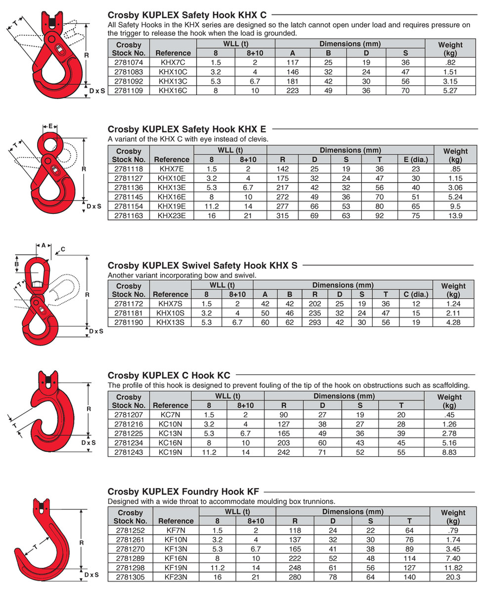 Safety Hook KHX C  KUPLEX Safety Hook KHX E KUPLEX Swivel Safety Hook KHX S KUPLEX C Hook KC KUPLEX Foundry Hook KF