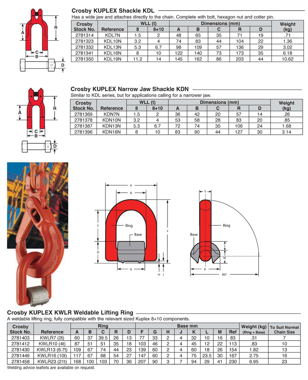 KUPLEX Narrow Jaw Shackle KDN  KUPLEX Shackle KDL KUPLEX KWLR Weldable Lifting Ring