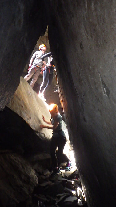Abseil exit through the cave