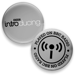 Peter's BBC badge, after being played on BBC Radio Three In Tune.