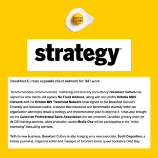 Breakfast Culture expands D&I clients - Strategy Magazine - October 30, 2020
