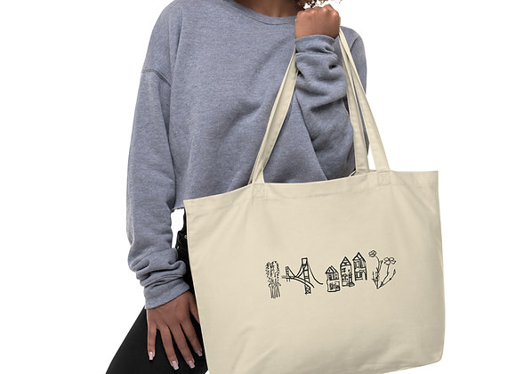 Large, Single Sided Black and White San Francisco Print Organic Cotton Tote