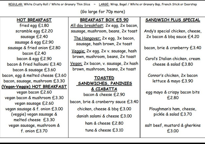 Hot Breakfast Toasted & Specials