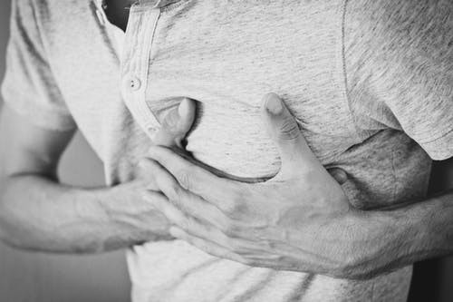 How to recognise a heart attack man holding chest
