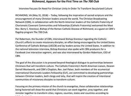Joint Press Release from the Catholic Diocese of Richmond, the Christian Broadcasting Network and th