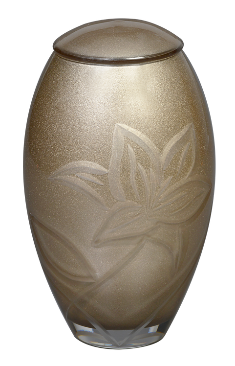 Parisian Gold Lily - Glass Cremation Urn