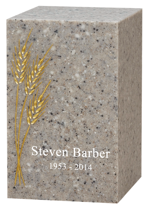 Villa Cultured Granite with Golden Wheat Cremation Urn