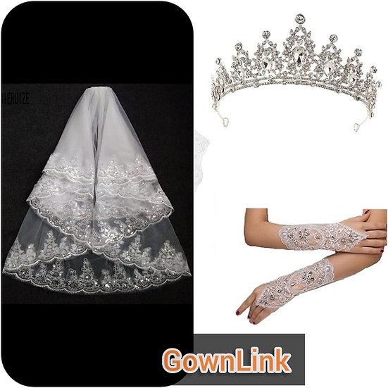 GownLink Crystal Tiara Crown Wedding Bridal Pearl Headband, Bridal Weddi