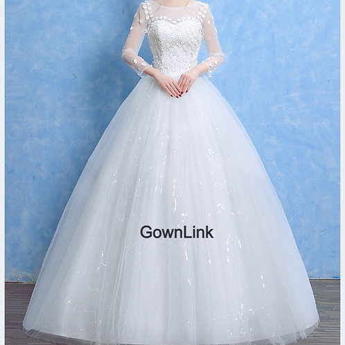 White Wedding Ball Gown Sleeves GownLink