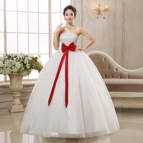 Beautiful White Red Wedding Dress Ball Gown QH26