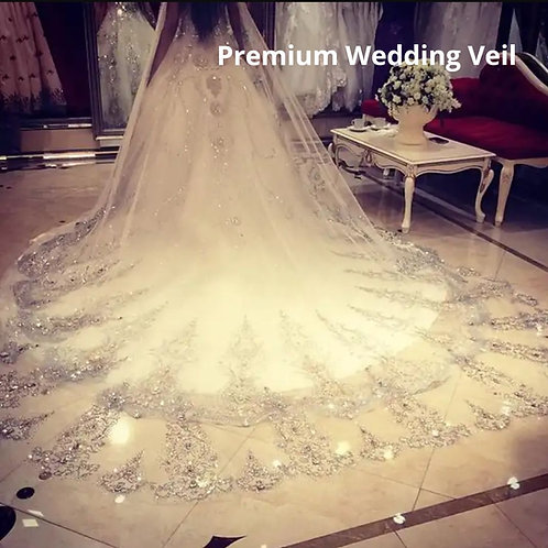 Wedding Veil GLVHL04 with face layer in front heavy border with comb