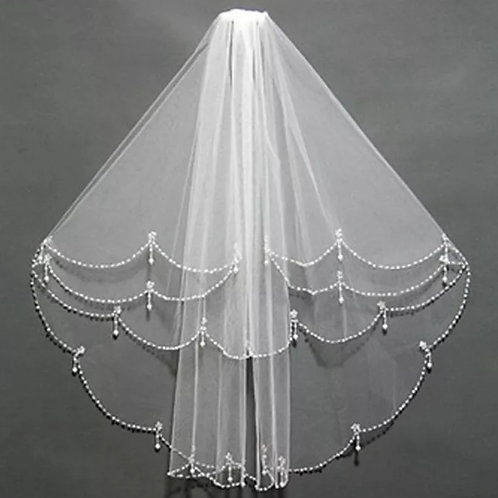 Christian Wedding Short Veil With Comb Pearl Stones Work