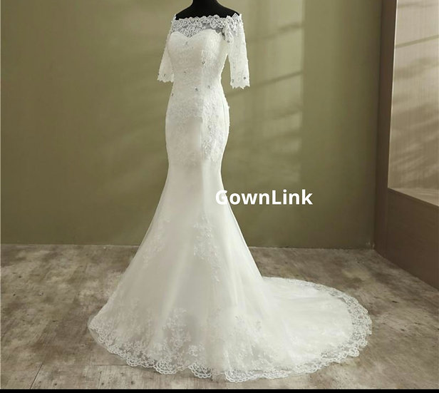 Gownlink Christian Bridal Catholics Bridal Mermaid Train Gown GLD950