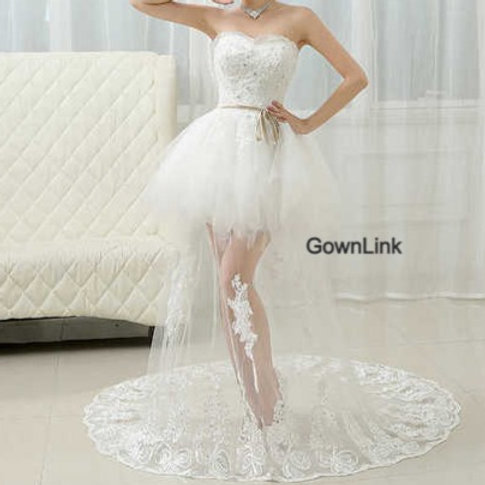 New Bridesmaid White Tube Party Short Gown Dress QHS575