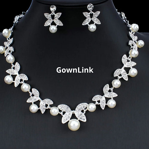 Gownlink Christian Bridal Silver Necklace With Earing India