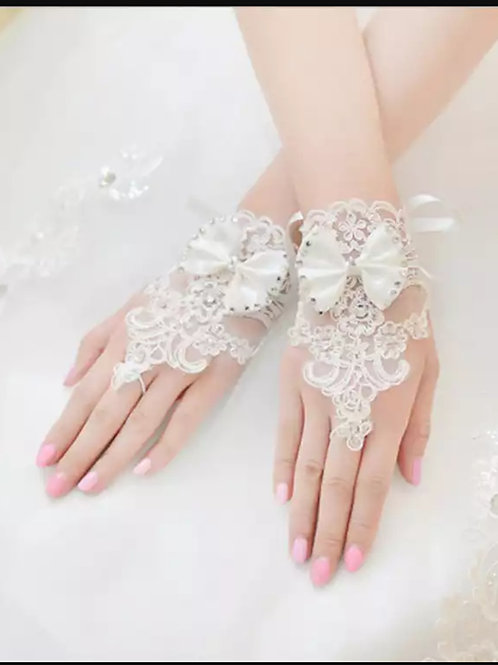 Beautiful Christian wedding Lace Bow Gloves G08 INDIA