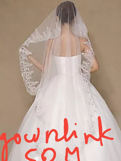 Christian Wedding White Veil With Comb Sequence Short INDIA