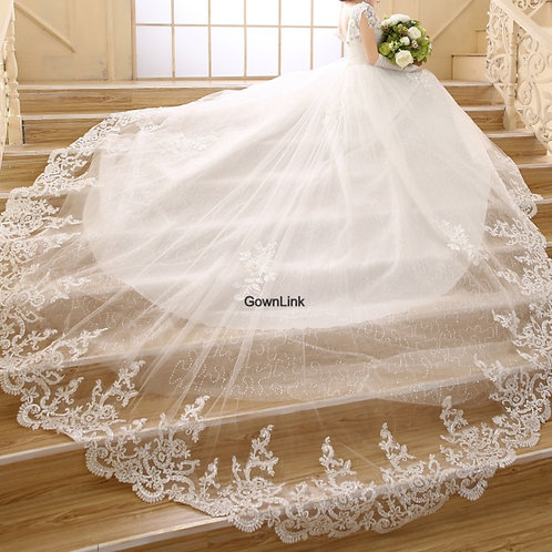 White Christian & Catholics Wedding Long Train  Frock GLQHS343T  With Sleeves